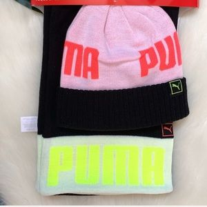 Puma neon scarf and beanie set NWT